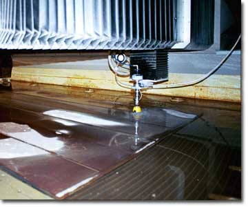 Waterjet cutting custom fabrications.